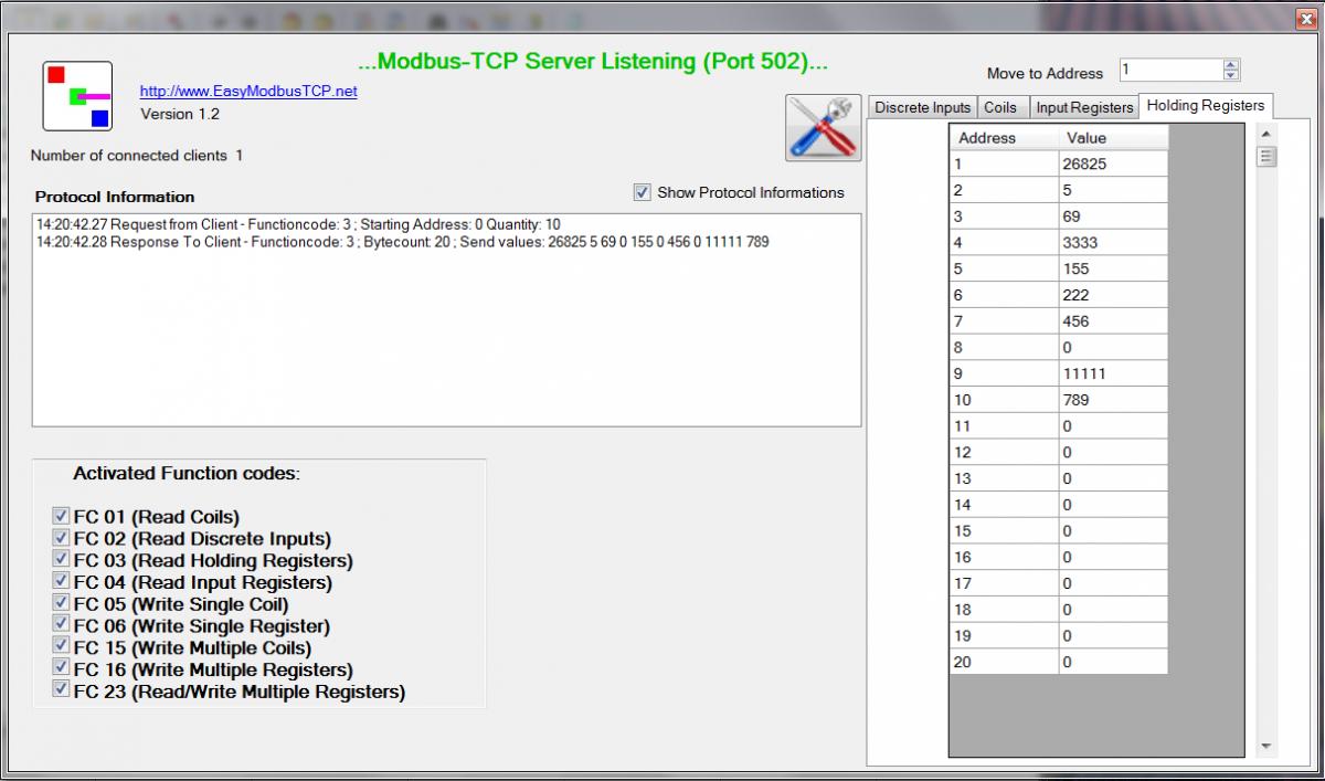 TEST - PC software EasyModbus pro testování Modbus-RTU / TCP